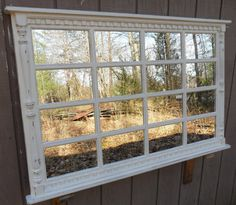 mantel multipane  off white   distressed   window by usawoodworks