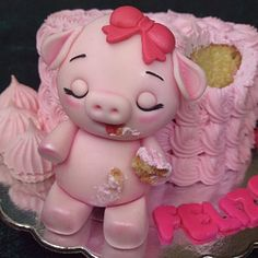 The Porcelain China Diane Code: 6345865704 Piggy Cake, Princess Cake Toppers, Lamb Cake, Pig Birthday Cakes, Dino Cake, Baby Cake Topper, Cake Topper Tutorial, Animal Cakes, Mermaid Cakes