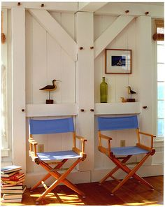Directors chairs at your summer home--perfect for indoor and outdoor relaxing!