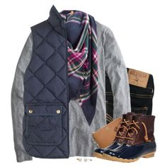 A fashion look from October 2016 by steffiestaffie featuring J.Crew, Hollister Co., Sperry, Tory Burch and Joules Navy Vest Outfit, Vest Outfits, Preppy Outfits, Fall Winter Outfits, Autumn Winter Fashion, Winter Style, Preppy Fall, Preppy Style, Joules Clothing