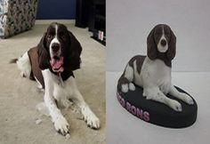 Custom Dog Figurine.  Custom Dog Sculpture.  This is Coco and their 3D Cuddle Clones Pet Figurine.