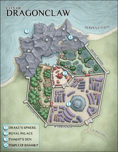 Urban Town Walled Coastal temples Gardens desert d&d dungeons and dragons map Fantasy Map Making, Fantasy City Map, Fantasy World Map, Fantasy Rpg, Medieval Fantasy, Dungeons And Dragons Homebrew, D&d Dungeons And Dragons, Pen & Paper, Rifle Paper