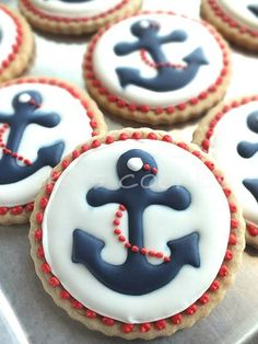 anchor cookies - make small Santa hat for the top out of fondue for Angie's cookie exchange Más Summer Cookies, Fancy Cookies, Iced Cookies, Cute Cookies, Royal Icing Cookies, Cupcake Cookies, Anchor Cookies, Anchor Cupcakes, Bolacha Cookies