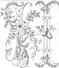 Fancy monogram: Link to Antique Pattern Library, all letters available