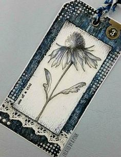 Ink-A-Pink: Tag Friday April 2016 at A Vintage Journey...like the color on the flower..done with distress crayons and water