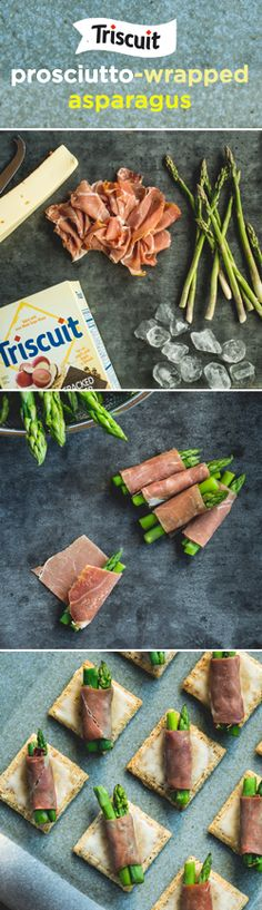A delectable appetizer to serve at your next gathering! Cut 4-in. long pieces off the top of each asparagus spear, then slice in half crosswise & boil until bright green. Place asparagus in a bowl of ice water to cool. Drain & pat dry. Cut prosciutto into 16 (2x1-in.) rectangles and use to roll up 1 EACH asparagus piece and tip. Layer baking sheet with TRISCUIT Cracked Pepper & Olive Oil crackers, top with Fontina cheese + asparagus bundles & broil 6 in. from heat until cheese is melted…
