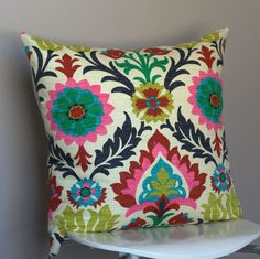 Waverly Santa Maria Desert Flower decorative pillow cover (colorful ethnic floral pattern) - 18x18, 20x20, 22x22