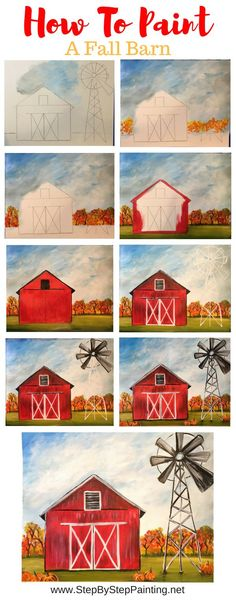 How To Paint A Fall Barn - Step By Step Painting geometric canvas, canvas art kids, painting idea canvas Tole Painting, Diy Painting, Painting & Drawing, Canvas Painting Tutorials, Matte Painting, Barn Drawing, Trippy Painting, Belly Painting, Autumn Painting