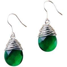 Bridget Emerald Earrings via Polyvore featuring jewelry, earrings, earrings jewellery, hook earrings, emerald jewelry, teardrop jewelry and emerald earrings