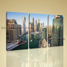 """Large Landscape Picture Dubai Cityscape 3 Panels Canvas Print Wall Art Modern Extra Large Wall Art, Gallery Wrapped, by Bo Yi Gallery 44""""x28"""". Large Landscape Picture Dubai Cityscape 3 Panels Canvas Print Wall Art Modern Subject : Dubai Style : Photography Panels : 3 Detail Size : 14""""x28""""x3 Overall Size : 44""""x28"""" = 112cm x 71cm Medium : Giclee Print On Canvas Condition : Brand New Frames : Gallery wrapped [FEATURES] Lightweight and easy to hang. High revolution giclee artwork/photograph...."""