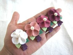 Emily 4 different color Wool Felt Hair Clips by PetitCalla