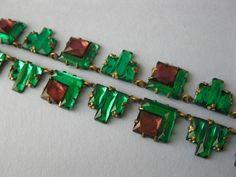 1930's Art Deco Czech Modernist Vauxhall Amethyst Emerald Glass Necklace
