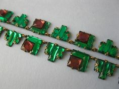 1930's Art Deco Czech Modernist Vauxhall Amethyst Emerald Glass Necklace