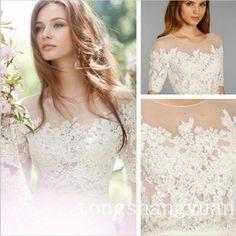 Elegant Lace Half Sleeves Bridal Bolero Wrap Applique White Ivory Wedding Jacket #WeddingJacket