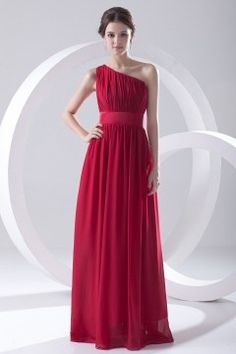 Cheap floor length bridesmaid dress, Buy Quality bridesmaid dress wedding directly from China bridesmaid dresses Suppliers: Chiffon A line One Shoulder Sleeveless Pleat Floor Length Bridesmaid Dresses Wedding party dresses robe de soiree One Shoulder Bridesmaid Dresses, Red Bridesmaids, Bridesmaid Dresses Online, Prom Dresses, Sexy Evening Dress, Chiffon Evening Dresses, Strapless Dress Formal, Robes D'occasion, Dress Robes