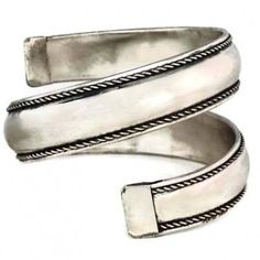 Spiral Bangle Tribal Bracelet Cuff Antique Silver Ethnic Belly Dancer Arm Wrap Jewelry