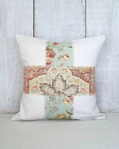 Floral Pillow Cover - Drop Cloth Patch Pillow - Tattered Patchwork Aqua and Brick Red Pillow - Farmhouse Cottage