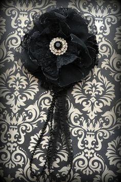 Black Lace Gillyflower - Handmade Flower Brooch
