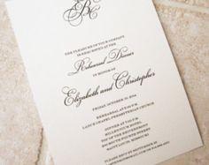 Wedding Rehearsal Dinner Classic Monogram Script Invitation - Deposit