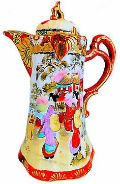 Hand painted porcelain pot with a scalloped body featuring a vibrant Geisha Garden scene with bright gold accents.