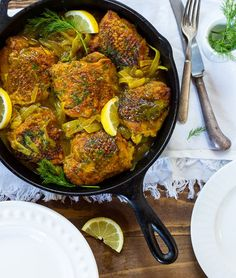 Easy weeknight dinner entree recipe with fresh lemon juice, fresh dill and healthy anti-inflammatory turmeric spice. 45 minute meal.