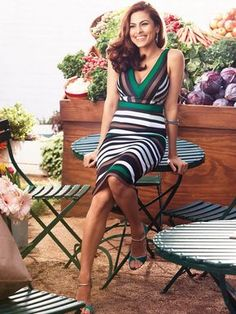 Eva Mendes Collection - Kate Dress - Striped - New York & Company Lady Like, Eva Mendes Collection, Dress Collection, Eva Mendes And Ryan, Kate Dress, Scuba Dress, Inspiration Mode, Eva Longoria, Petite Dresses
