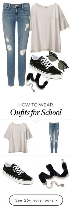 """""""BACK TO SCHOOL 1 day outfit"""" by fashion-is-passion23 on Polyvore featuring Uniqlo, Frame Denim, Vans, Ray-Ban and Sweet Romance"""