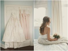 Such beautiful pastel colours at this wedding - love the Amsale wedding gown!