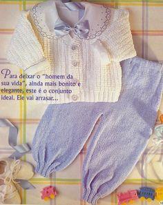 Scorzo Tricroche: Casaquinho de bebê de tricô para menino com receita