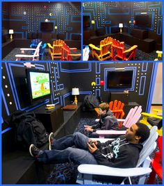 Pac-Man themed video game room - Edge Teen Center Cincinnati, Ohio. Designed and Remodeled by Eagle Scout Drew Dixon.
