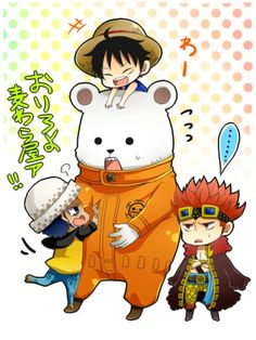 Bepo and supernova monster trio 3 rookie Captains Trafalgar D. Water Law, Monkey D. Luffy, and Eustass Kid One piece
