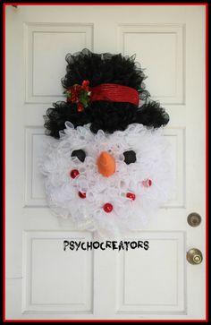 Frosty the Snowman Wreath – Snowman Shaped Winter Wreath – Snowman Head Wreath…