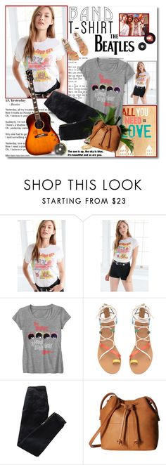 """""""Band T-shirt - The Beatles"""" by chris101287 ❤ liked on Polyvore featuring Bravado, Trilogy, Pierre Balmain, ECCO, Kate Spade, bandtshirt and bandtee"""