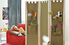 Biombos y páneles on 1001 Consejos  http://www.1001consejos.com/social-gallery/almacenamiento-espacios-pequenos-5