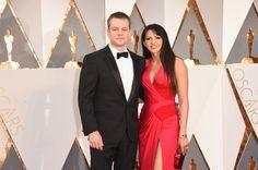 #oscarfashion Actor Matt Damon (L) and Luciana Barroso attend the 88th Annual Academy Awards at Hollywood & Highland Center on February 28, 2016 in Hollywood, California.