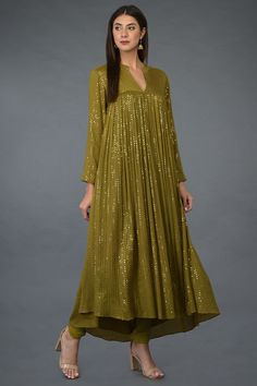 Mehandi Green-Gold Sequin Embroidered Kurta