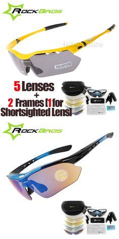RockBros Polarized 5 Lenses Cycling Eyewear with Myopia Frame Bike Glasses Bicycle Glasses Sunglasses for Riding Sport Men Women