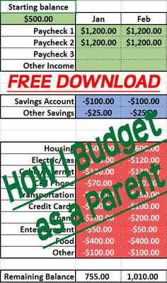 ... budgeting as a parent super simple. Use this Free Excel Download to