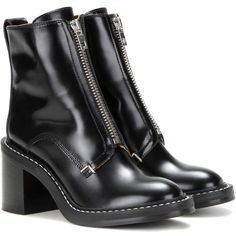 Rag & Bone Shelby Leather Ankle Boots ($735) ❤ liked on Polyvore featuring shoes, boots, ankle booties, boots/booties, shoes boots, black, black ankle booties, short boots, leather boots and leather booties