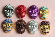 40pcs mixture colors rhinestone alloy skull bead by cindyworks, $51.64