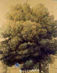 arbres Chioma con segnale stradale_tecnica mista su carta 100x80