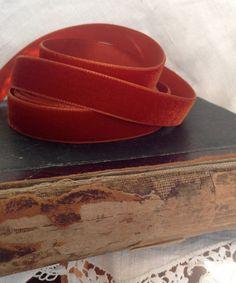 burnt orange rust velvet ribbon