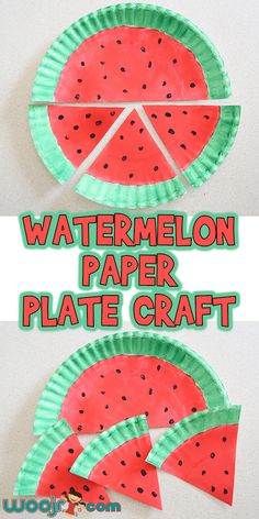 This Watermelon Paper Plate Craft is an easy and fun craft to do with your preschooler to welcome in summertime, and a great addition to a W letter lesson! Watermelon Activities, Watermelon Crafts, Fruit Crafts, Red Crafts, Fun Crafts To Do, Summer Crafts For Kids, Art For Kids, Watermelon Carving, Kid Art
