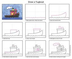 Tugboat diagram Drawing Projects, Drawing Lessons, Art Lessons, Art Projects, Easy Drawings For Kids, Drawing For Kids, Art For Kids, Boat Drawing, Directed Drawing