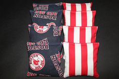 Boston RED SOX Cornhole Bags VINTAGE Print 8 AcA by lots2ofr2