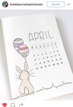 Hello April. Bunny with Easter egg balloons and calendar.