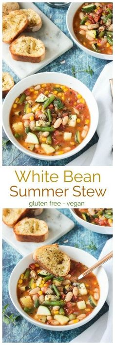 Summer Stew from Vegan Yack Attack On The Go - an easy vegetable and white bean soup recipe that uses the best of summer garden offerings. Perfect for a healthy lunch or pair it with a loaf of crusty bread for a hearty dinner. It all comes together in les Vegan Soups, Vegetarian Recipes, Healthy Recipes, Vegetarian Soup, Healthy Soup, Bean Soup Recipes, Chili Recipes, Summer Soup Recipes, Beans Recipes