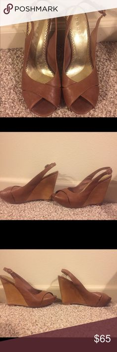 Bebe Wedges Size 9 tan wedges from Bebe. Perfect investment in a tan trendy pair of wedges! Used a few times, but definitely not abused. bebe Shoes Wedges