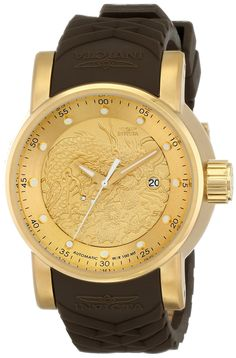 Invicta Mens 12790 S1 Rally Yakuza Automatic Goldtone and Brown Rubber Watch. Precise 24 Jewels Japanese automatic movement. Mineral Crystal; 18K gold ion-plated stainless steel case; Brown silicone strap. Date window at 3:00. Gold textured dial with gold tone and white hands and hour markers; Exhibition case back. Water resistant to 330 feet (100 M): suitable for snorkeling, as well as swimming, but not diving.