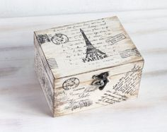 Paris Wooden Box, Beige Treasury  Box, Jewelry box, Distressed box, Eiffel tower Box, Memory box, Keepsake box, ohtteam